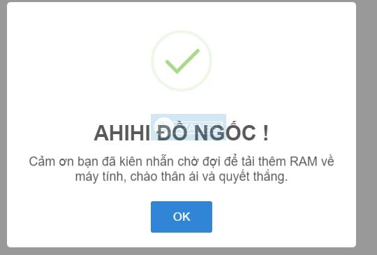 Thông báo bạn đã bị lừa của website