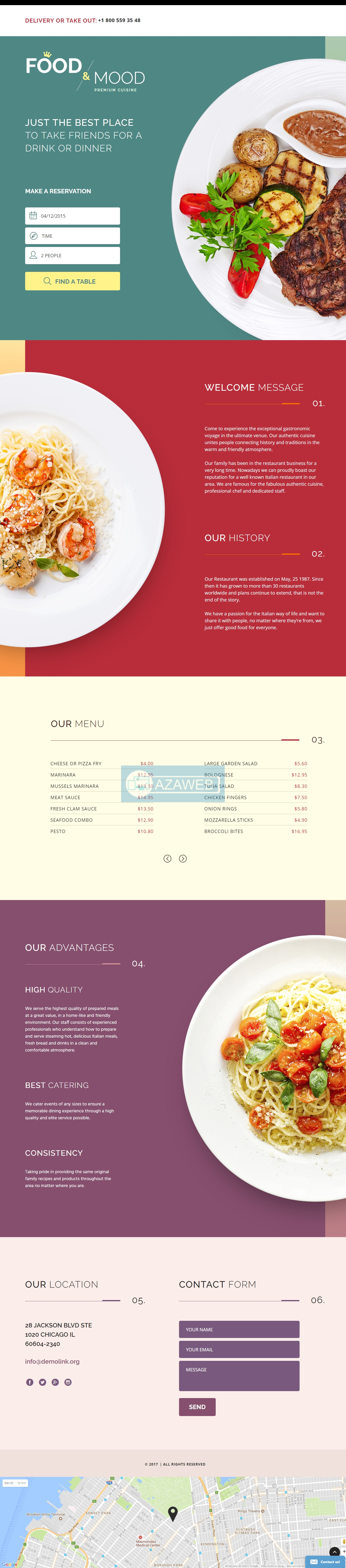 Landing page Cafe and Restaurant