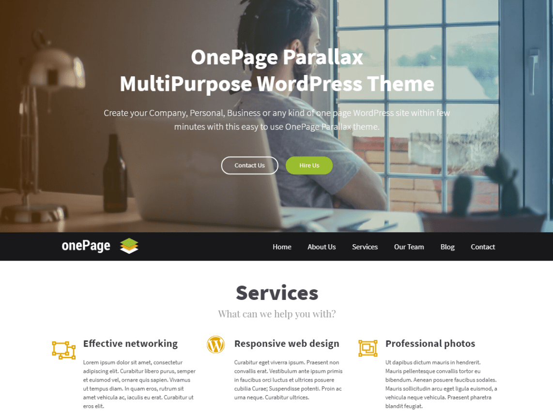 OnePage Parallax Theme Miễn phí Tải về