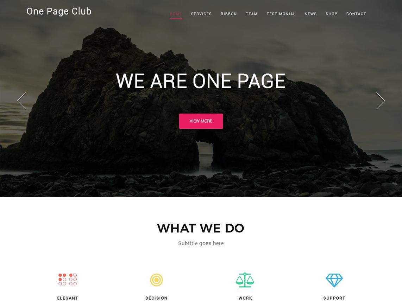 One Page Club Theme Miễn phí Tải về