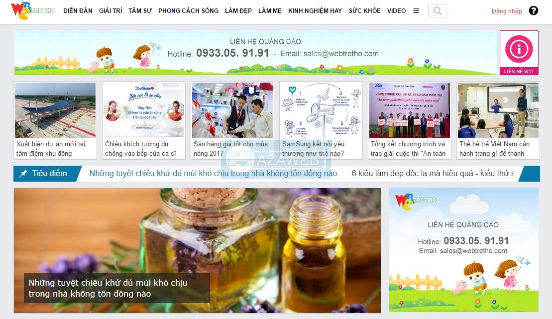 Website chia sẻ thông tin và sản phẩm mẹ - bé lớn nhất việt nam
