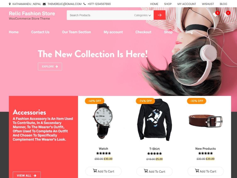 Relic Fashion Store Theme Miễn phí Tải về