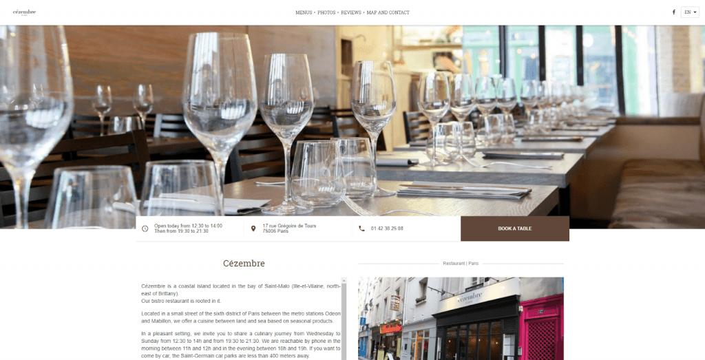 Trang web nhà hàng