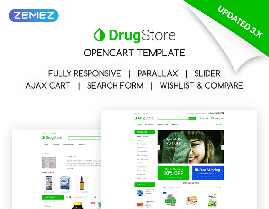 DrugStore - Cửa hàng dược phẩm, dược phẩm & thuốc cửa hàng OpenCart