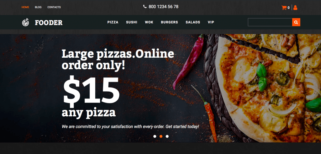 Fooder Pizza Restaurant MotoCMS Mẫu thương mại điện tử