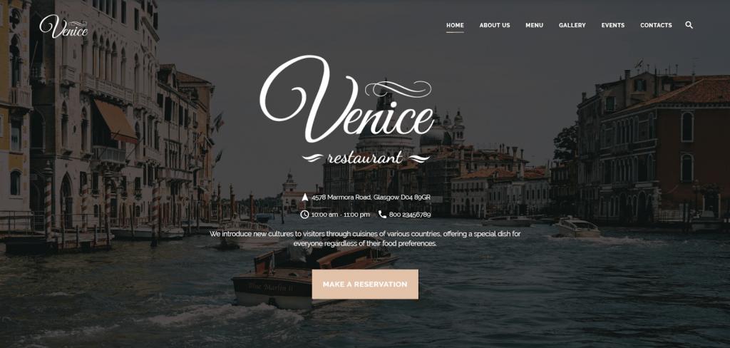 Nhà hàng Venice - Cafe & Restaurant Template trang web đáp ứng