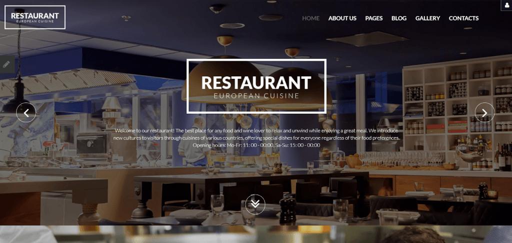 Nhà hàng châu Âu Responsive Joomla Template