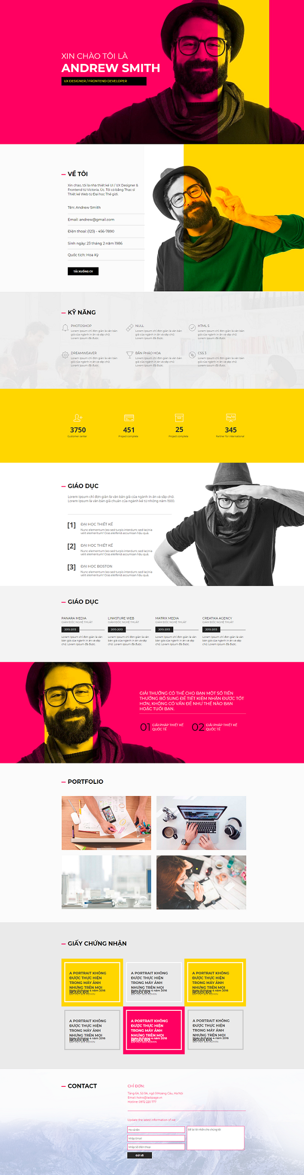 Giao diện website Profile ANDREW SMITH - Thiết kế website CIP
