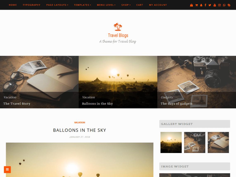 Travel Blogs Theme Miễn phí Tải về