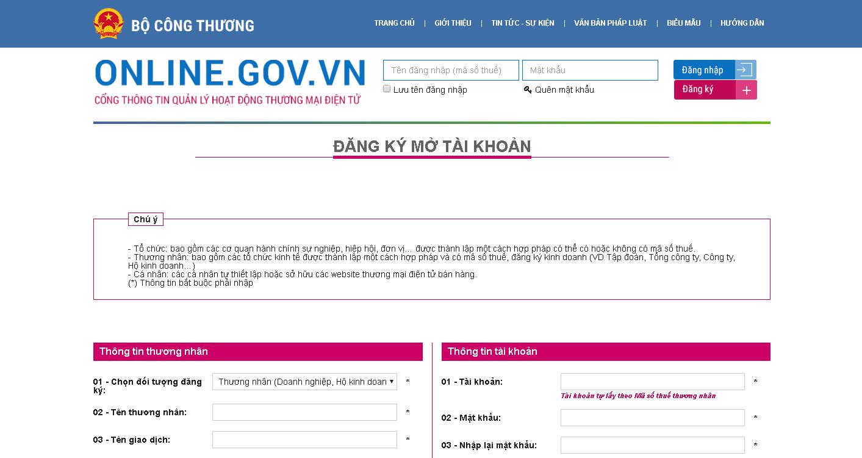Cách đăng ký website với Bộ Công Thương